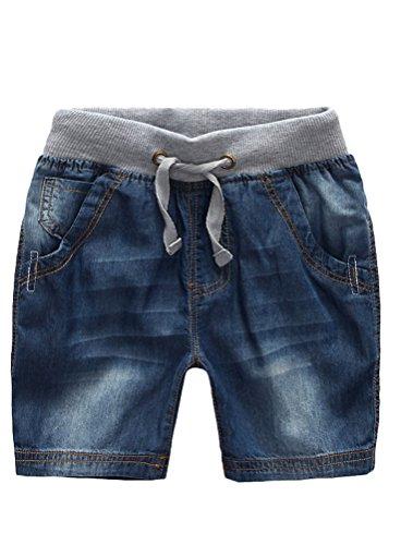 (Mallimoda Boys Denim Jeans Washed Pull-On Shorts Dark Blue 4-5 Years )