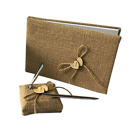 Rustic Wedding Guest Book Pen Holder Set Double Wooden Heart Embellished Burlap Guest Book for Birthday Party Reception Wedding Home Decor 1Set]()