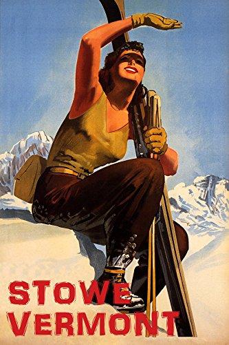 POSTER WINTER SPORT SUN STOWE VERMONT SKI MOUNTAINS SKIING VINTAGE REPRO FREE SH