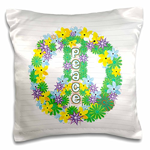Anne Marie Baugh Signs - Green, Purple, Yellow Flowered Peace Sign - 16x16 inch Pillow Case (pc_101288_1)