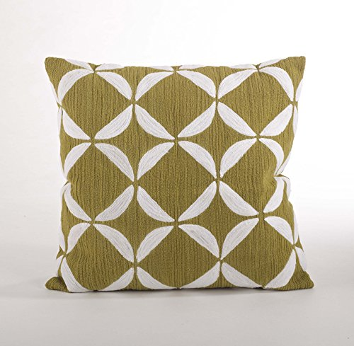 Ayla Crewel Work Down Filled Throw Pillow, 18-inch Square (Chartreuse Case Only) (Pillows Crewel)