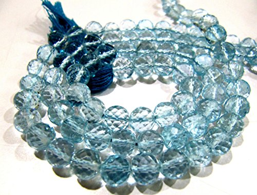 Super Fine Quality Natural Blue Topaz Faceted Round Beads / Genuine Blue Topaz Gemstone Beads / 6-7 mm Size BT Gemstone / Strand 5 inch long