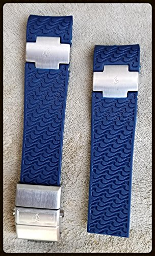 22mm Rubber Watch Strap Band for ULYSSE NARDIN Marine Diver (Blue+Clasp) (Ulysse Nardin Maxi)