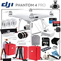DJI Phantom 4 Pro Dynamic Bundle: Includes 3 Intelligent Flight Batteries, Backpack Case Pack- Red, Sun Shade, Cinema Series Filter Kit, High Speed 32GB MicroSD Card and more...