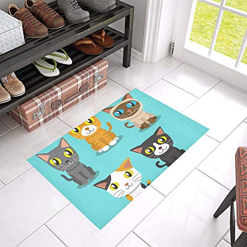 SGFDH Anime Cute Cat Welcome Cleaner Doormat for Home and Business Indoors and Outdoors Dirt Trapper Door Mat Non-Slip Entrance Rug Carpet 23.6