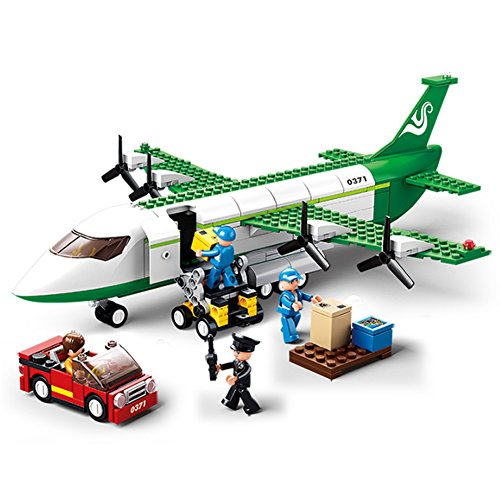 Sluban M38-0371 Aviation Blocks Plane Bricks Toy - Air Freighter, Green