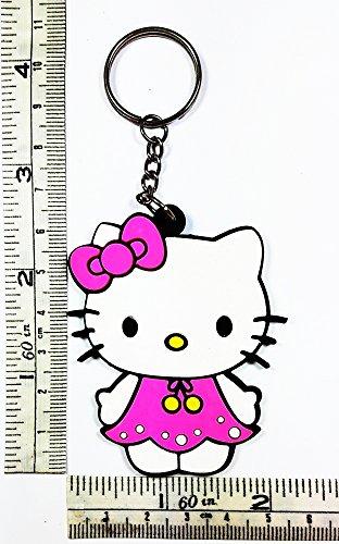 pink Hello Kitty Cartoon Keychain Key ring Rubber cartoon kids movie Ideal for Birthday Gift (Hello Kitty Key Ring)
