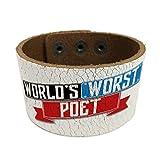 NEONBLOND Funny Worlds worst Poet Leather Cuff unisex Women, Men's Bangle Bracelet