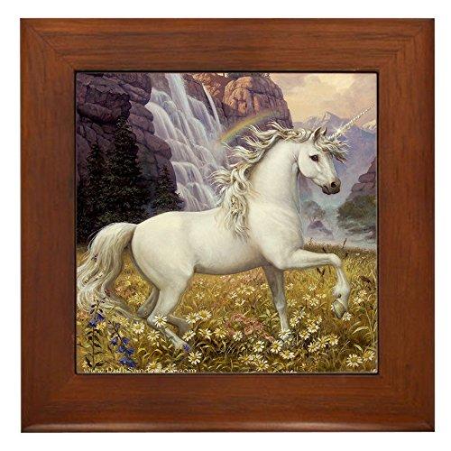 (CafePress - Unicorn Rainbow - Framed Tile, Decorative Tile Wall Hanging)