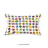 VROSELV Custom pillowcasesAnimation Cute Little Graphic Baby Mosters Great for Kids Nursery Room Colored Cartoons Art for Bedroom Living Room Dorm Multicolor(16''x20'')