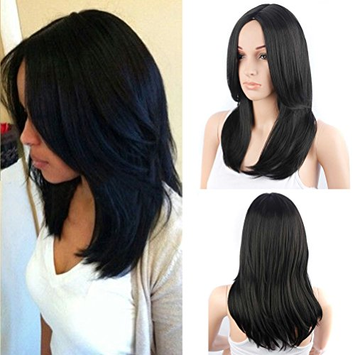 BERON Long Wavy Center Part Synthetic Wigs for Women Girls Natural Looking Soft Wigs 20'', 230 Grams (Jet Black)