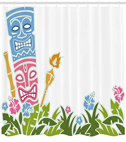 Nyngei Tiki Bar Decor Shower Curtain Statues Surrounded by Fresh Vibrant Hibiscus Flowers Polynesian Fabric Bathroom Decor Set with Hooks 70.8x70.8in Extra Long Light Blue Pink Green