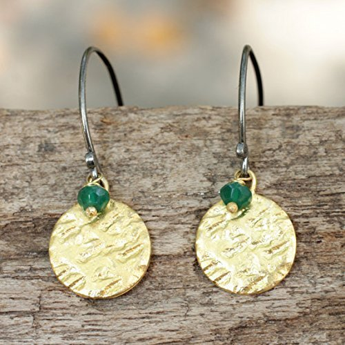 hammered-brass-and-sterling-silver-dangle-earrings-with-green-onyx-bead