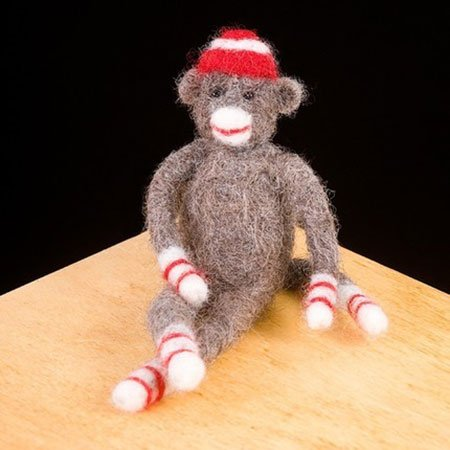 Sock Monkey Wool Needle Felting Craft Kit by WoolPets. Made in the -