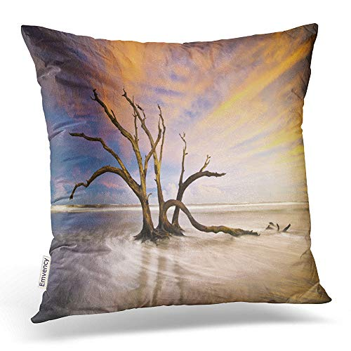 Emvency Throw Pillow Covers Folly Beach Dead Tree Driftwood Ocean Sunset Charleston SC Landscape Decor Pillowcases Polyester 18 X 18 Inch Square Hidden Zipper Home Cushion Decorative Pillowcase]()