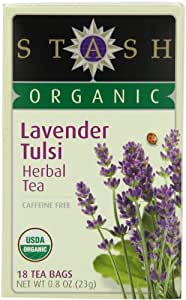 Stash Tea Organic Lavender Tulsi Herbal Tea Bags, 18-Count (Pack of 6)