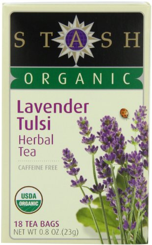 Stash Tea Organic Lavender Tulsi Herbal Tea, 18 Count Tea Bags in Foil 0.8 oz. (Pack of 6)