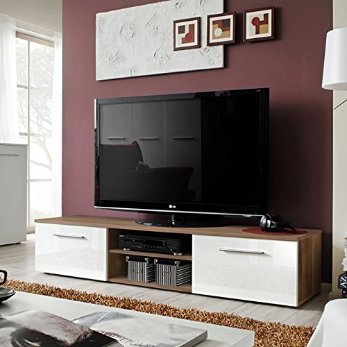 Paris Prix Meuble TV Design Bono II 180cm Prunier /& Blanc