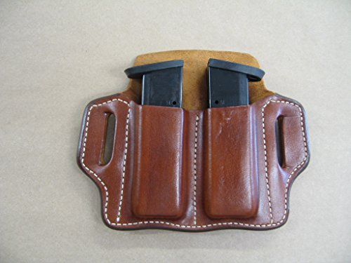 Beretta 92, 96, M9, 92fs 9mm Leather 2 Slot Molded Pancake Belt Mag Pouch TAN - Beretta M9 9 Mm