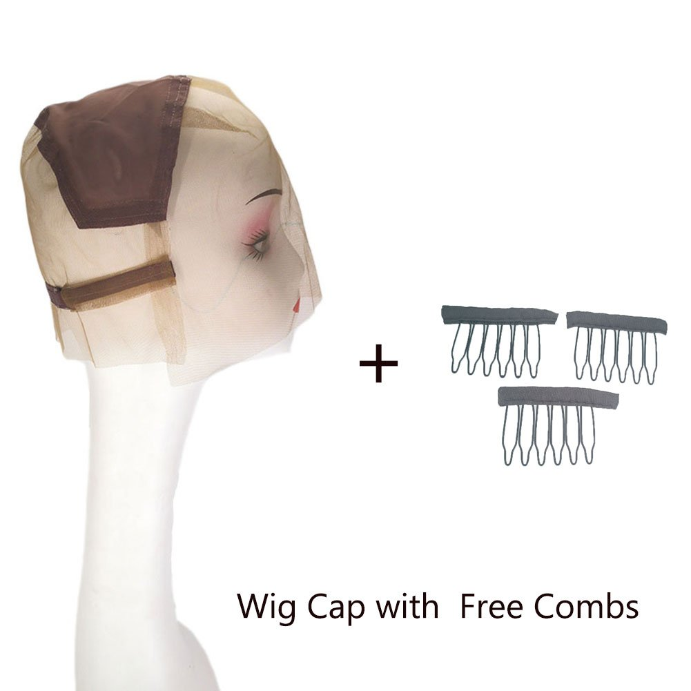 ItsUHair Full Lace Wig Cap with Adjustable Straps Best Quality Breathable Swiss Lace Wig Caps for Women for DIY Making Wigs with Free Combs(Brown) by ItsUHair (Image #1)
