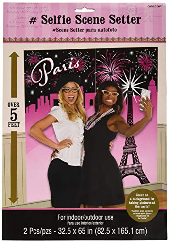 (Amscan Party Supplies Day in Paris Selfie Scene Setter (6 Piece), Multi)