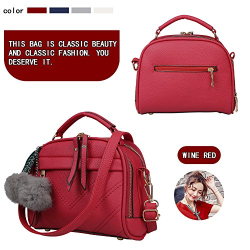 Ladies Zone Magic Women wine Leather Top Handbags Bags Shoulder Bags handle Red Tote z4pqR46F