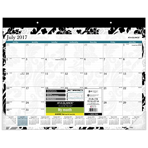 "AT-A-GLANCE Academic Desk Pad Calendar, July 2017 - June 2018, 21-3/4"" x 17"", Madrid, White/Black (SK93-704A-A6)"