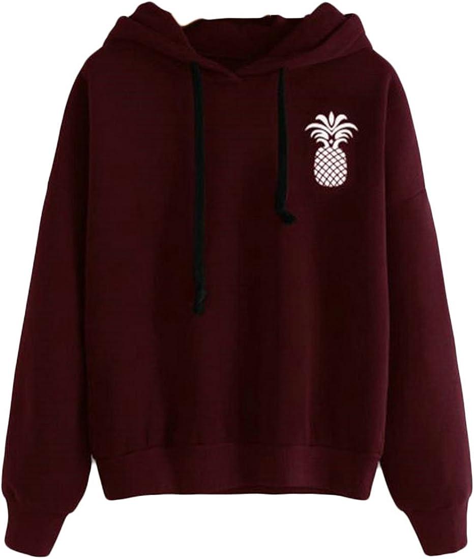 GenericWomen Casual Pineapple Print Hooded Long Sleeve Drawstring Sweater