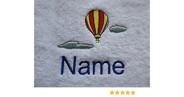 Toalla para la cara, toalla de mano, toalla de baño, baño (o) personalizado con globo de aire caliente Logo y nombre de su elección (toalla para la cara (30 ...