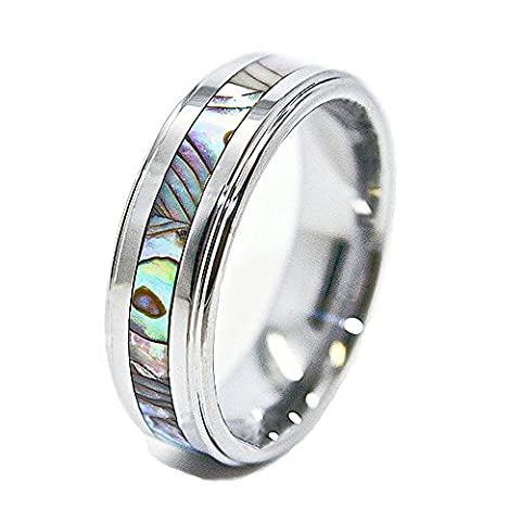 Unique 8mm Tungsten Carbide Ring with Abalone Shell Inlay Wedding Band Size 4.5 (4 1/2) (Abalone Inlay Band Ring)