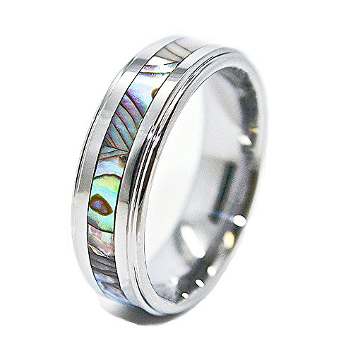 Unique 8mm Tungsten Carbide Ring with Abalone Shell Inlay Wedding Band Size 13.5 (13 1/2)