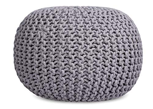 Tremendous Birdrock Home Round Pouf Foot Stool Ottoman Knit Bean Bag Floor Chair Cotton Braided Cord Great For The Living Room Bedroom And Kids Room Machost Co Dining Chair Design Ideas Machostcouk