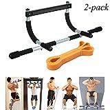 EXEFIT Door Gym Bar With Resistance Bands Total Upper Body Workout and Resistance Bands Workouts