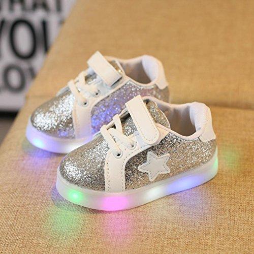 OverDose LED Luminous Sneakers, Mode Baby Mädchen Jungen Turnschuhe LED Leuchtendes Kleinkind beiläufige Bunte Helle Schuhe B-Silber