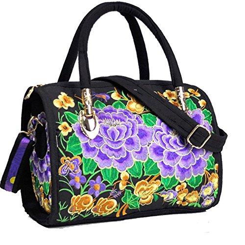 (Women's Designer Large Top Handle Structured Tote Bag Satchel Handbag Shoulder Bag Purse ... (Purple Peony))