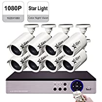 IHOMEGUARD StarLight 8 Channel HD 1080P SONY Color Sensor Color Night Vision Security Camera System with 8x HD 1080P 2.0 MP Weatherproof 2000TVL Outdoor Cameras