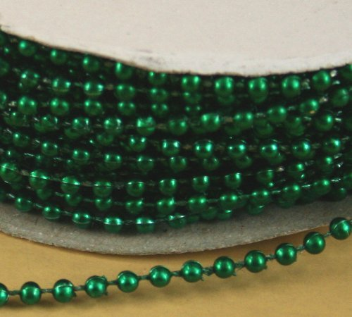 4mm Faux Pearl Plastic Beads on a String Craft Roll Metallic Emerald Green - Green Faux Pearl