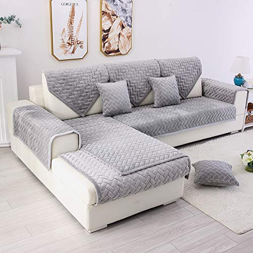 (TEWENE Couch Cover, Sofa Cover Couch Covers Sectional Couch Covers All Seasons General Sofa Slipcover for Dogs Cats Pet Love Seat Recliner Grey (Sold by Piece/Not All Set))