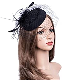 Fascinators Hats 20s 50s Hat Pillbox Hat Cocktail Tea Party Headwear with  Veil for Girls and 674938a2472e
