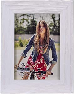 Malden International Designs Rustic Fashion Wide Linear White Wash Wooden Picture Frame, 5x7, White