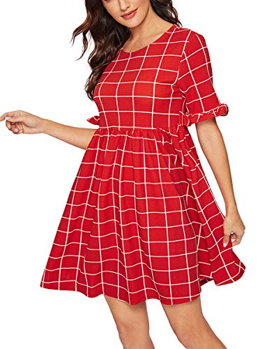 Romwe Women's Summer Short Sleeve Check Print Loose Casual Tunic Swing Dress Red L