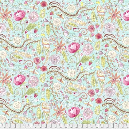 Garden Aqua, The Dress Laura Heine - Free Spirit Cotton Fabric