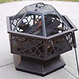 Hexagon Bronze Burning Fire Pit with Free Cover Grills Made From Steel and Metal Screen Included Cross Scented Candle Tart
