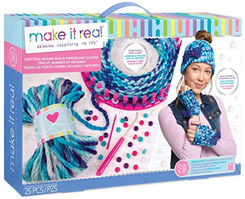 - Make It Real - Knitting: Beanie Bun and Gloves. DIY Arts and Crafts Kit Guides Kids to Crochet a Beanie and Fingerless Gloves with Acrylic Yarn