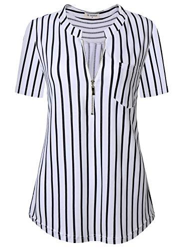(Bulotus Women Plus Size Tops Zip Up Tunics for Legging (XX-Large, White))