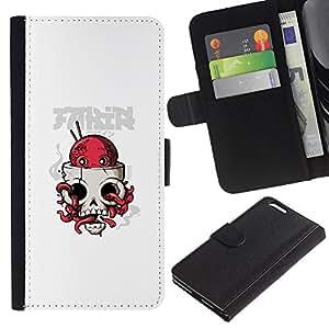 KLONGSHOP // Tirón de la caja Cartera de cuero con ranuras para tarjetas - Pulpo cráneo - Apple Iphone 6 PLUS 5.5 //