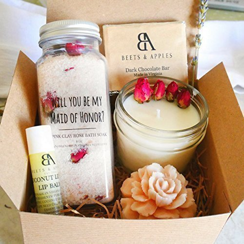 SHIP NEXT DAY - Maid of Honor Gift Set, Maid of Honor Proposal Gifts, Will you be my Maid of Honor Gift - Rose Spa Gift by Beets & Apples by BeetsandApples