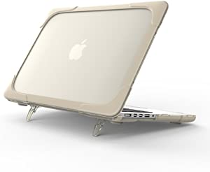 Funut Laptop Case for MacBook Air 13 Inch 2020-2018 Kickstand Case, Rubberized Plastic Hard Case Shockproof Protective Case for Mac Air 13 inch A1932 A2179 A2337 M1 with Retina Display, Khaki