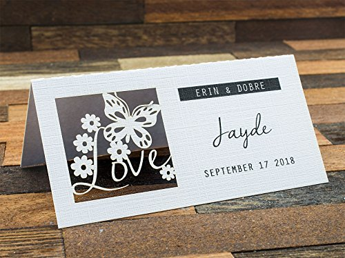 Summer-Ray 24pcs Laser Personalized Love is in the Air White Wedding Place Cards by Summer-Ray.com