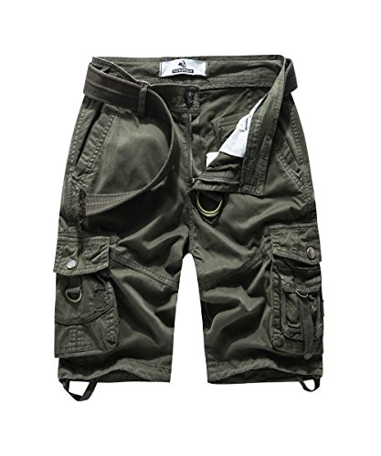 FOURSTEEDS Women's Multi-Pocket Bermuda Shorts Twill Cotton Relaxed Fit Capri Pants Army Green US 4 ()